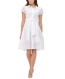 Dot-Stripe Tie-Waist Shirtdress