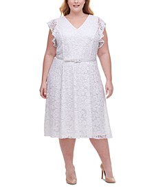 Plus Size Belted Lace Fit & Flare Dress