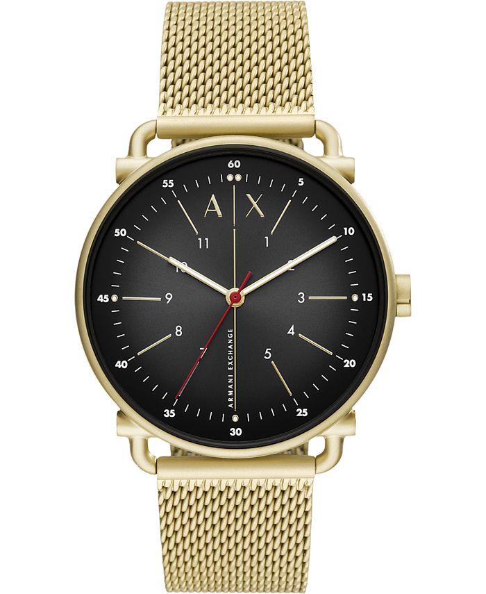 A|X Armani Exchange - Men's Rocco Gold-Tone Stainless Steel Mesh Bracelet Watch 44mm