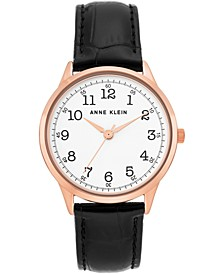 Women's Black Leather Strap Watch 36mm