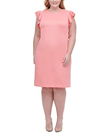 Plus Size Sheath Flutter Sleeve Dress