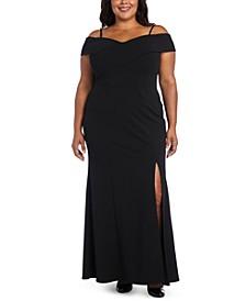 Plus Size Portrait-Collar Scuba Gown