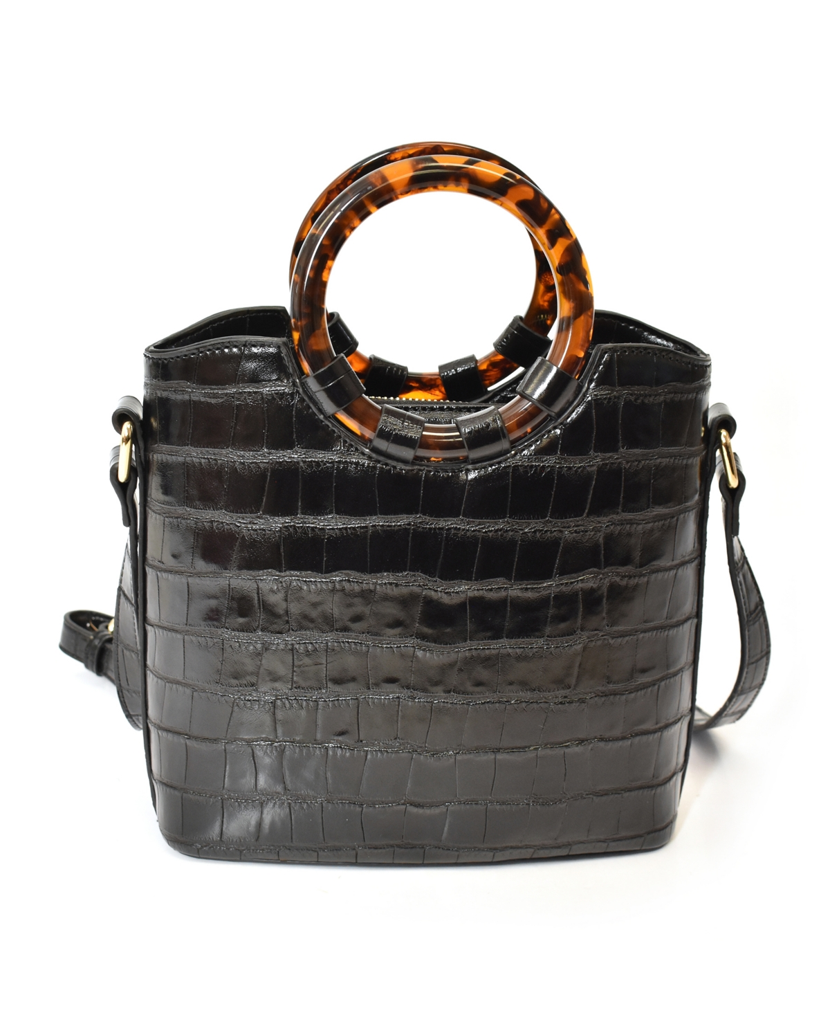 Round Tort Handles and Removable/Adjustable Strap Crossbody Bag