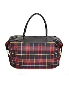 Plaid Pattern Double Handle Weekender Bag