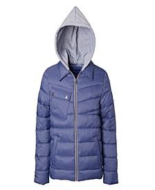 Little Boys Quilted Jacket with Fleece Hood