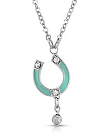 Silver-Tone Enamel with Crystal Accent Horseshoe Necklace