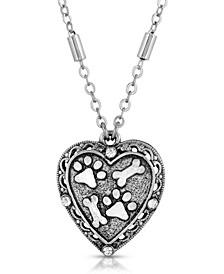 Silver Tone Heart Paw and Bones Necklace