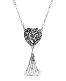 Pewter Imitation Pearl Paw and Bones Heart Tassel Drop Necklace