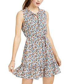 Juniors' Ditsy-Print Dress