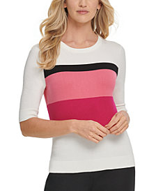 DKNY Colorblocked Elbow-Sleeve Sweater
