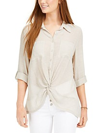 Juniors' Gauze Twist-Front Shirt
