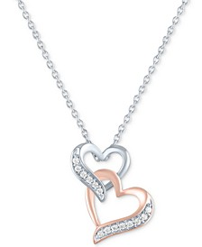 "Diamond Double Heart Pendant Necklace (1/10 ct. t.w.) in Sterling Silver & 14k Rose Gold-Plate, 16"" + 2"" extender"