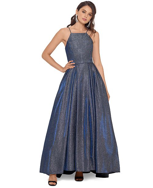 Betsy & Adam Metallic High-Low Gown