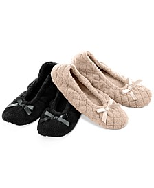 Women's 2-Pk. Microterry Ballerina Slippers