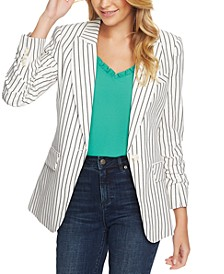 Striped One-Button Blazer
