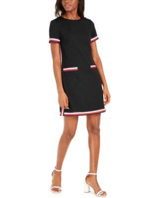 Striped-Trim Dress