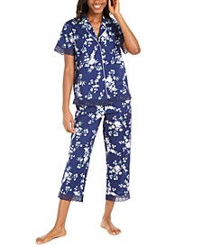 Cotton Lace-Trim Printed Capri Pants Pajamas Set, Created for Macy's