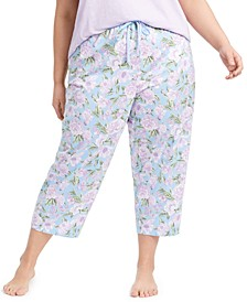 Plus Size Cotton Knit Cropped Pajama Pants, Created for Macy's