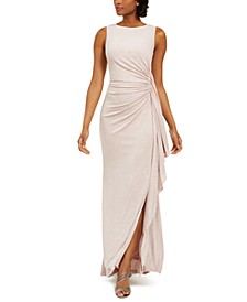 Ruched Glitter Gown