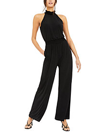 INC Smocked-Neck Jumpsuit, Created for Macy's