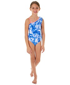 Big Girls 1-Pc. Tie-Dye One-Shoulder Swimsuit