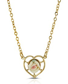 14K Gold-Dipped Porcelain Rose Heart Necklace