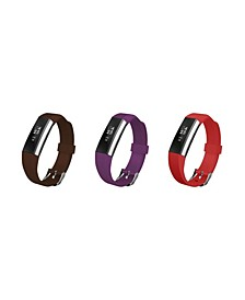 Unisex Fitbit Alta Assorted Silicone Watch Replacement Bands - Pack of 3