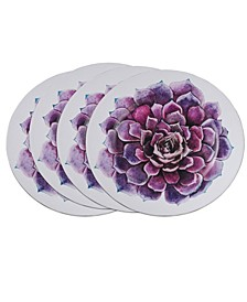 Floral Table Chargers with Succulent Flower Design Set of 4