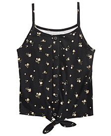 Big Girls Ditsy Floral-Print Tie-Front Tank Top, Created For Macy's