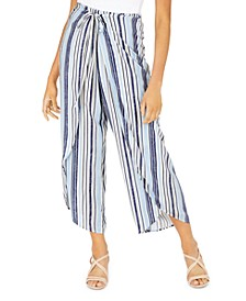 Juniors' Striped Wrap-Front Soft Pants