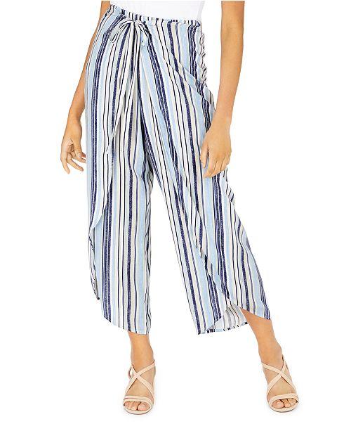 BCX Juniors' Striped Wrap-Front Soft Pants