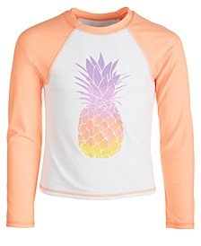 Big Girls Pineapple-Print Long-Sleeve Rash Guard