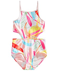 Big Girls 1-Pc. Tropical Cutout Swimsuit, Created for Macy's