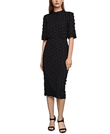 Jacquard-Embroidered Midi Dress
