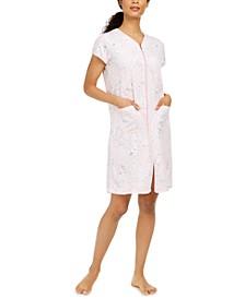 Floral-Print Zipper Robe