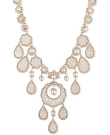 """Gold-Tone Crystal & Mother-of-Pearl Lace Statement Necklace, 16"""" + 2"""" extender"""
