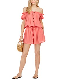 Off-TheShoulder Romper Swim Cover-Up