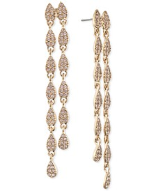 Pavé Pear-Shape Double-Row Linear Drop Earrings