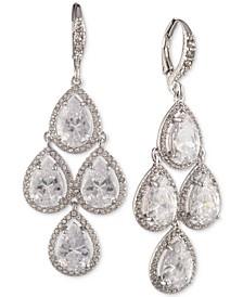 Silver-Tone Cubic Zirconia Pear-Shape Chandelier Earrings
