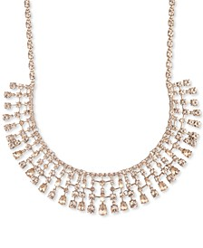 "Gold-Tone Crystal Drape Statement Necklace, 16"" + 3"" extender"