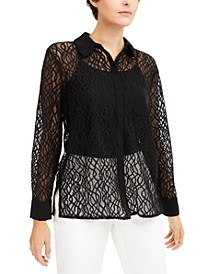 Lace Button-Down Top, Created for Macy's