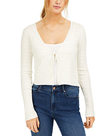Ultra Flirt Juniors' Pointelle-Knit Cropped Cardigan