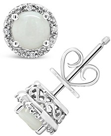 Opal (5/8 ct. t.w.) and Diamond Accent Stud Earrings in Sterling Silver