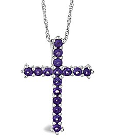 Amethyst (1-5/8 ct. t.w.) Cross Pendant Necklace in Sterling Silver