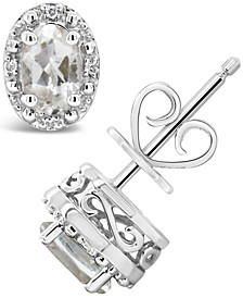 White Topaz (1-1/8 ct. t.w.) and Diamond Accent Stud Earrings in Sterling Silver