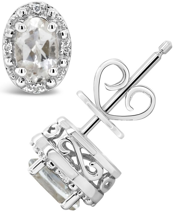 Macy's - White Topaz (1-1/8 ct. t.w.) and Diamond Accent Stud Earrings in Sterling Silver