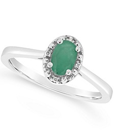 Emerald (3/8 ct. t.w.) and Diamond Accent Ring in Sterling Silver