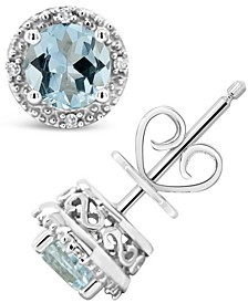 Gemstone (6mm) and Diamond Accent Stud Earrings in Sterling Silver