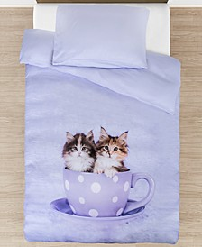 Tea Cup Kitties Duvet Cover Set, Twin