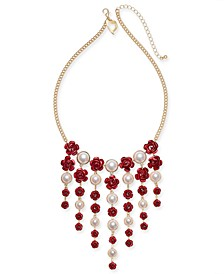 """Two-Tone Imitation Pearl & Rosette Statement Necklace, 16"""" + 3"""" extender, Created for Macy's"""